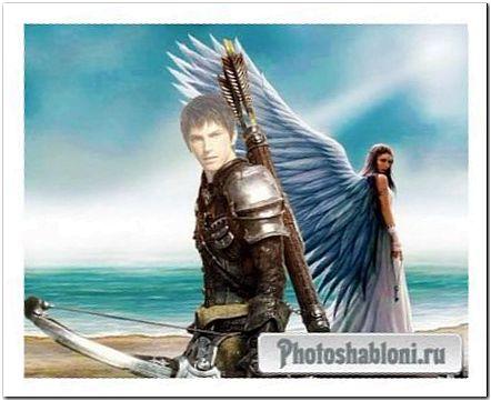 Мужской шаблон для фотомонтажа в стиле фэнтези - Хранитель Ангела