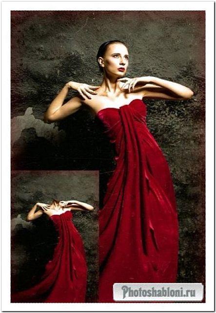 Женский шаблон для фото - Красное ретро