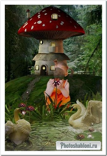Шаблон для фотошоп - Девочка с лебедями