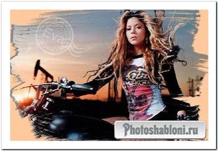 Шаблон для photoshop - Девушка на байке