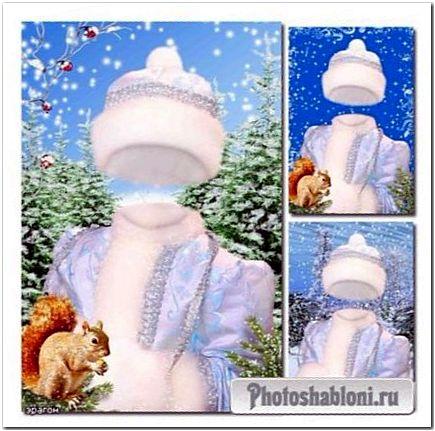 Новогодний шаблон для девочек - Снегурочка с белочкой