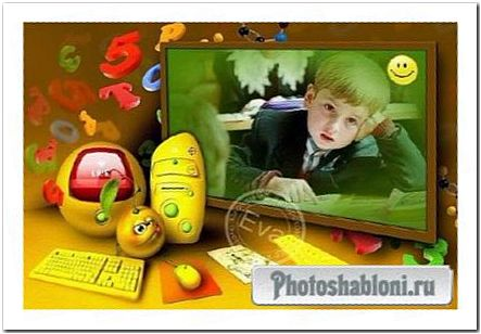 Детская рамка для фотошопа - Школьная перемена