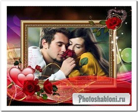Фоторамка для влюбленных - Красные розы, алые сердца