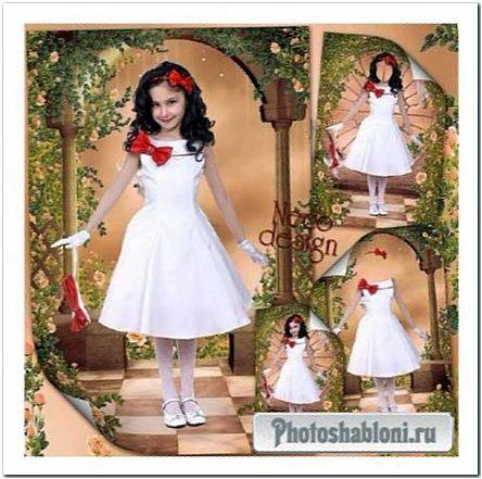 Шаблон для девочки с белым платьем с красной отделкой и красным бантом - Модница