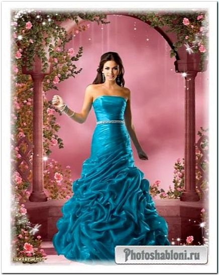 Женский шаблон - Прекрасная леди в платье цвета морской волны