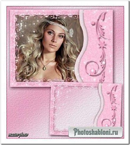 Гламурная рамка для фотошопа - Розовые завитки и блеск