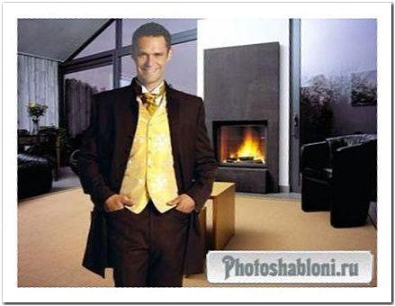 Мужской шаблон для фотомонтажа - Мужчина в костюме, интерьер с камином