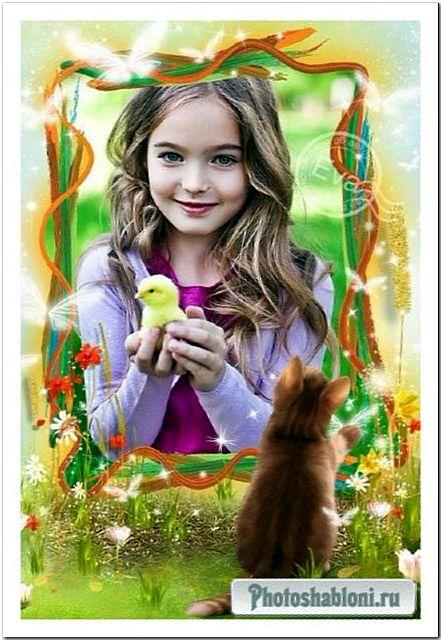 Детская фоторамка - Котенок и бабочки