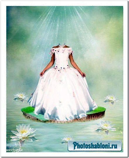 Детский psd шаблон - Девочка в белом платье среди прекрасных лилий