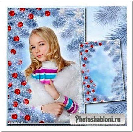 Новогодняя рамка для фото - Голубая ель и красные шары
