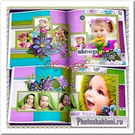 Детская фотокнига для малыша или малышки в стиле скрапбукинга