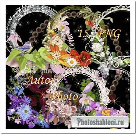 Вырезы с цветочными композициями для фоторамок