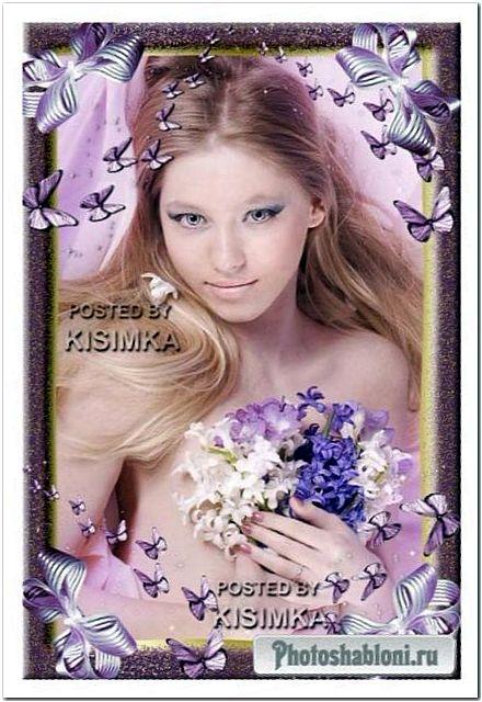 Сиреневая рамка с бабочками и бантами | Lilac photoframework with butterflies and bows
