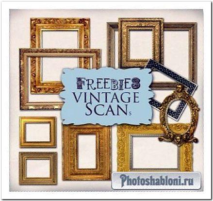 Деревянные и металлические рамки-вырезы для Photoshop - Позолоченные классические багеты