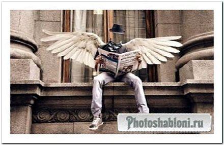 Мужской шаблон - Симпатичный парень с крылышками