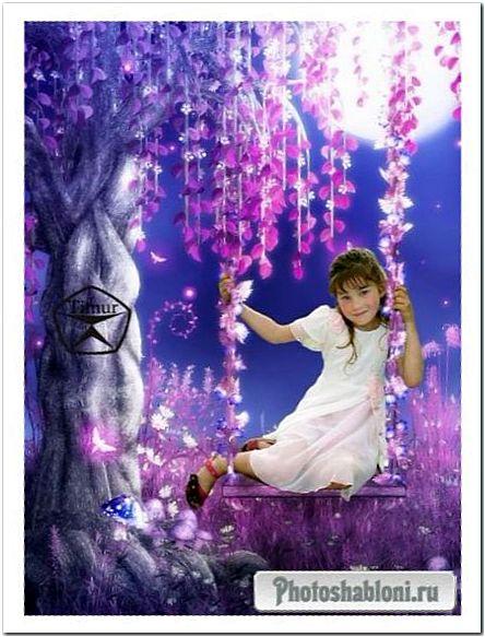 Детский шаблон для фотошопа - Волшебные качели