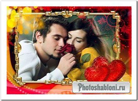 Фоторамка для фото влюбленных - Горячие сердца