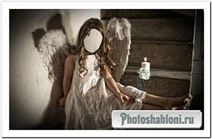 Шаблон для фотомонтажа - Девочка в костюме ангела