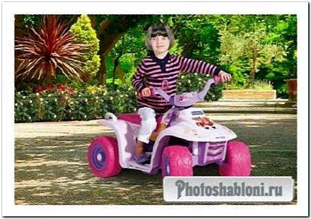 Детский шаблон для фотошопа - Девочка на скутере