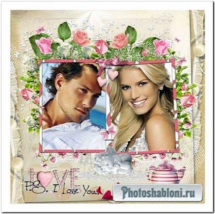 Рамка ко дню влюбленных - Белый ангелочек, розы и сердечки