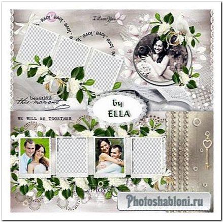 Свадебная фотокнига в пастельных тонах - Белые розы, вуаль невесты, голуби, кольца, кружево и жемчуг