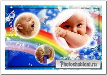 Детская рамочка для фотошопа - Купание малыша