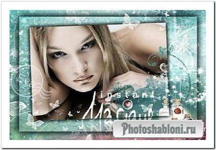 Фоторамка для женского фото - Аромат, магия и блеск на изумрудном фоне