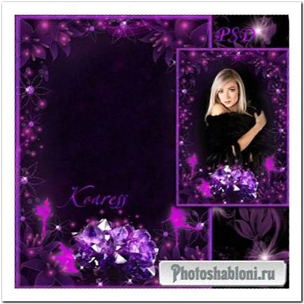 Рамка для фото - Пурпурные кристаллы и феи на прозрачных цветах