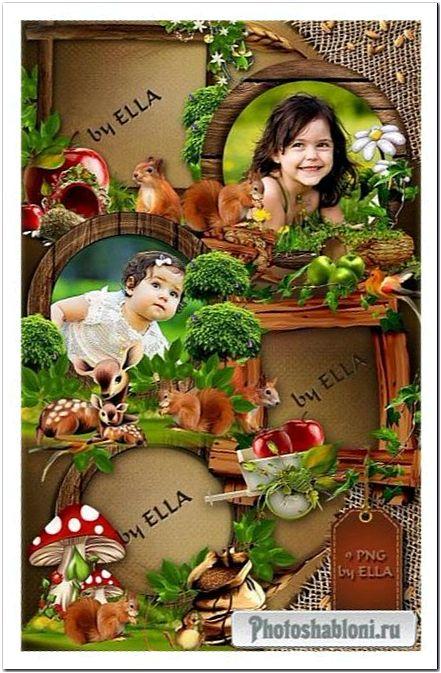 Деревянные рамки-вырезы, декорированные зелеными деревьями, белочкой, совой, ежиком, цветами и фруктами