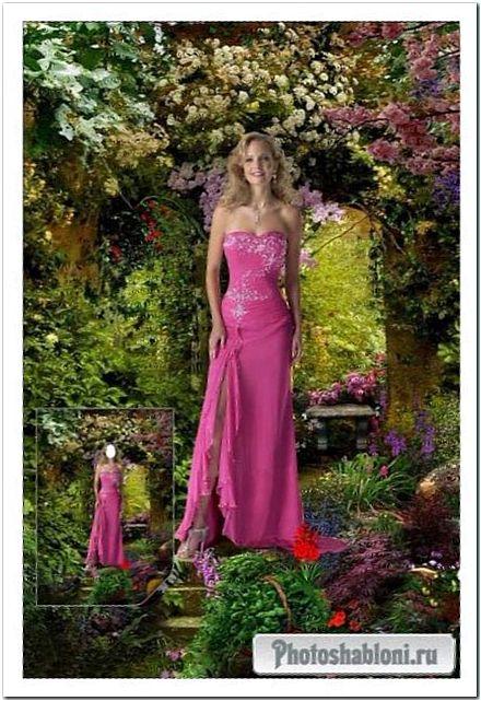 Женский шаблон для фотомонтажа - Девушка в цветущем саду