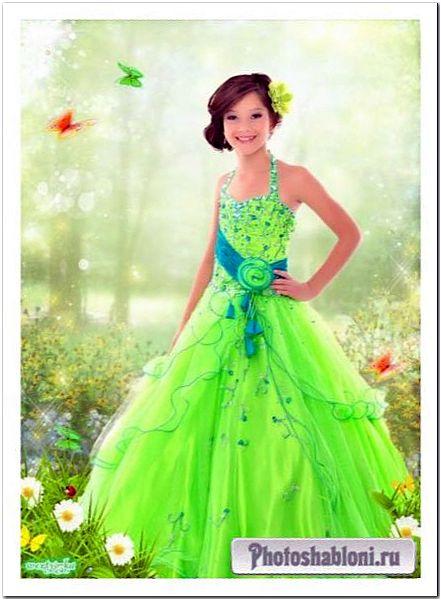 Многослойный детский psd шаблон - Девочка в ярко зеленом платье среди ромашек и бабочек