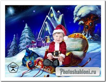 Детский шаблон для фотомонтажа - Малыш в костюме Санта Клауса