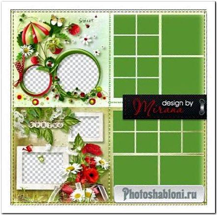 Летняя фотокнига для оформления фотографий с летнего, дачного отдыха - В нашем садочке расцвели цветочки, клубника, ромашки, красные маки