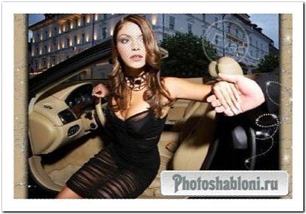 Женский шаблон для фотомонтажа - Гламурная девушка в салоне модного авто