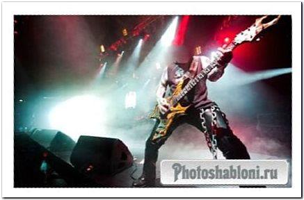 Шаблон для Photoshop - Звезда метала на сцене