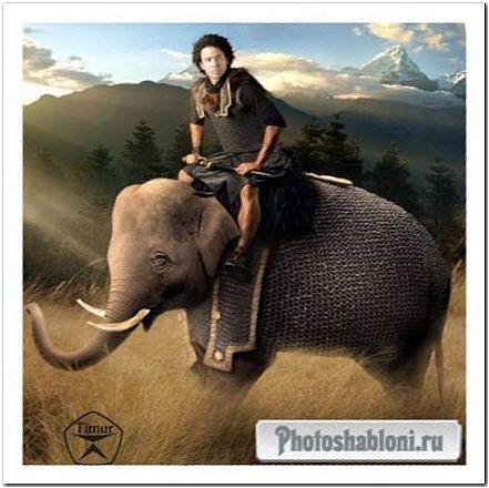 Мужской шаблон для фотошопа - Верхом на слоне