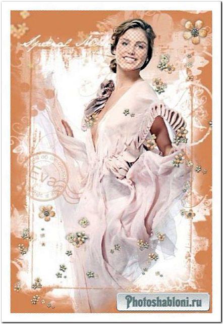 Женский фотошаблон с девушкой в красивом платье - От Валентино
