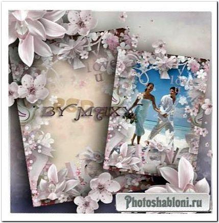 Пастельная рамка для свадебного фото - Магнолия и сакура