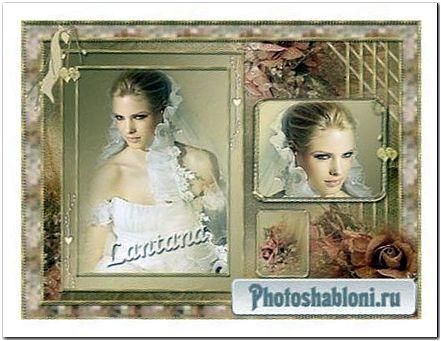 Рамка для фото - Бордовая роза, бархатный атлас