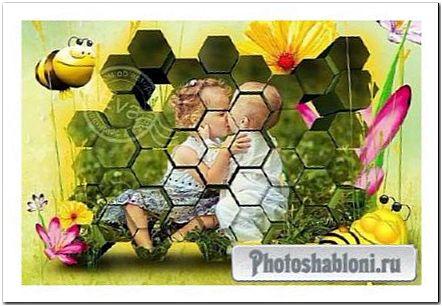 Детская рамка для фотошопа - Соты