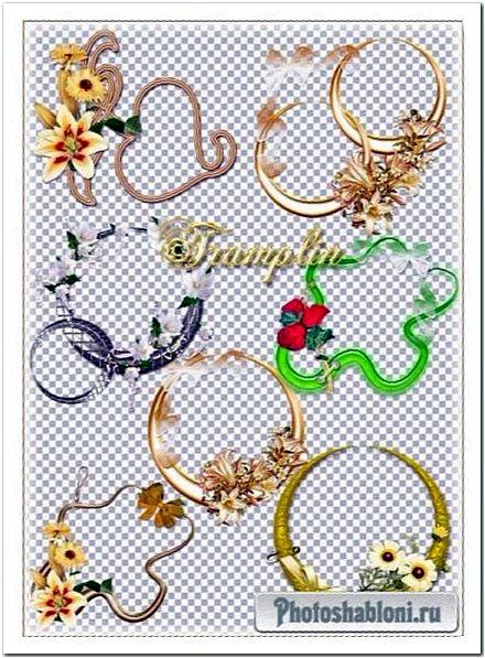 Цветные рамки-вырезы с цветочным декором