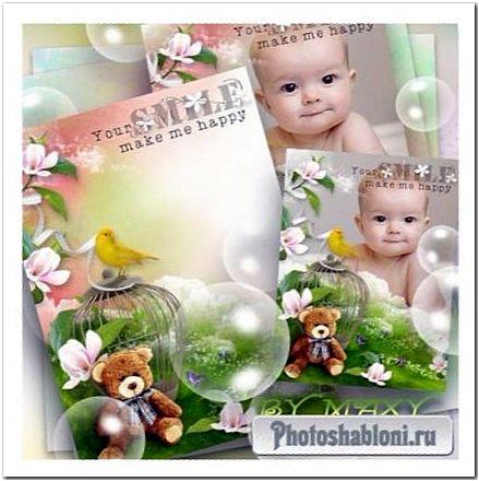 Детская фоторамка с цветами - Плюшевый мишка и канарейка