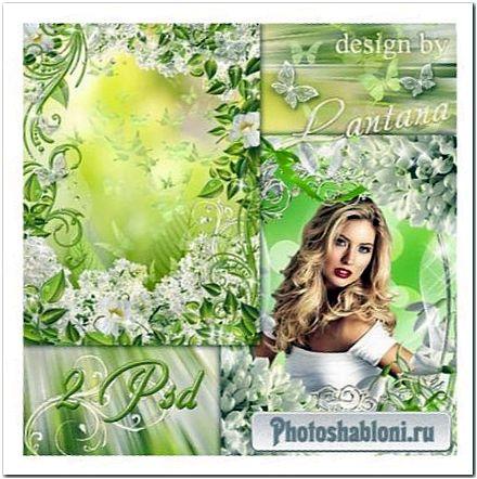 Весенние цветочные фоторамки - Белые весенние цветы на смену зимней стуже