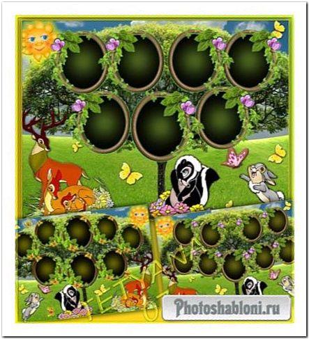 Рамка виньетка - Семейное дерево с героями мультфильма Бэмби
