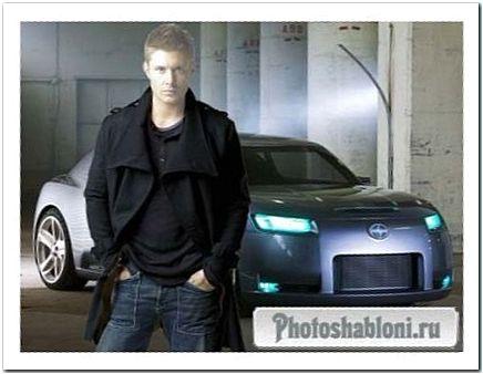 Мужской шаблон для фотомонтажа - Крутой парень в плаще на фоне современного автомобиля