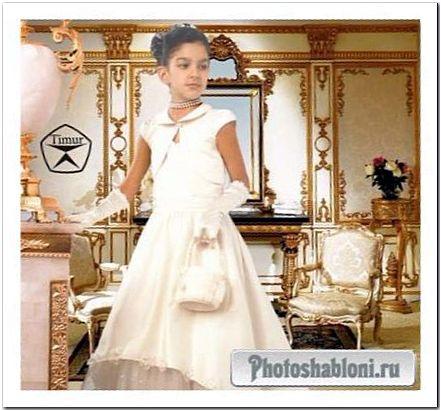 Детский шаблон для фотошопа - Девочка в белом роскошном платье