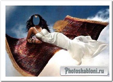 Шаблон psd женский - Девушка в белоснежном платье на ковре самолете