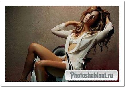 Художественный женский шаблон для фотомонтажа - Девушка в кресле