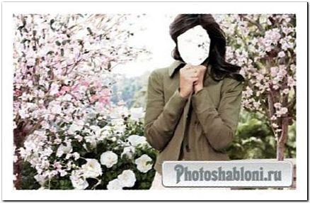 Шаблон для photoshop - Девушка в прекрасном парке