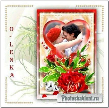 Рамка для фотошопа - Роза красная, роза прекрасная